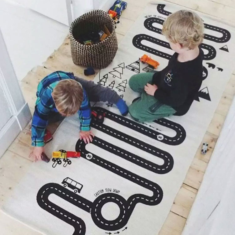 Kids Play Game Mat Rectangle Carpet Rugs Mat Cotton Car Road Crawling Blanket Floor Carpet For Kid Room Decoration INS Baby Gift цены