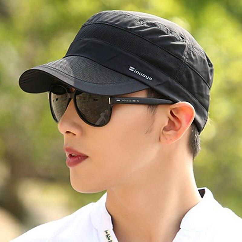 XdanqinX Men's Hats Summer Mesh Breathable   Baseball     Caps   Sport Ultra Thin Fashion Casual Adjustable Head Size Snapback Flat   Cap