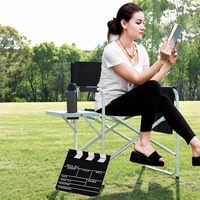 Giantex Folding Director's Chair Side Table Outdoor Camping Fishing W/Cup Holder Black Commercial Furniture OP3502BK