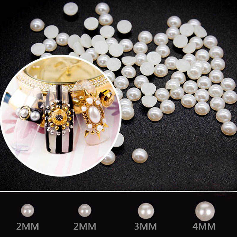 2MM/3MM/4MM DIY White plastic semicircle flat pearl nail art decoration accessories Manicure makeup tools