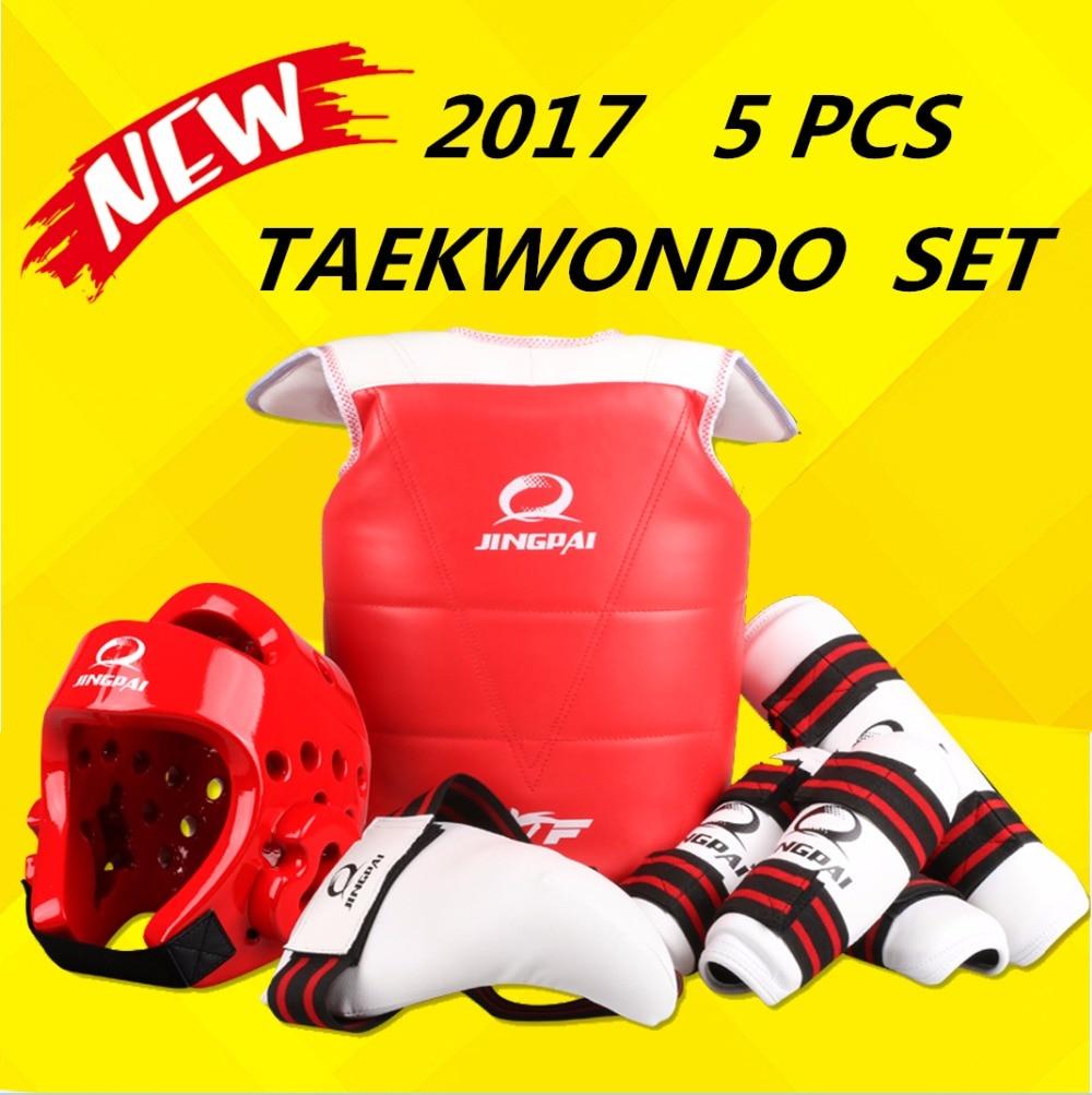 Wholesale WTF approved Taekwondo protectors suite Helmet chest shin arm guards Child karate headgear MMA kick body hugo Helmets target kick pad for taekwondo training black red
