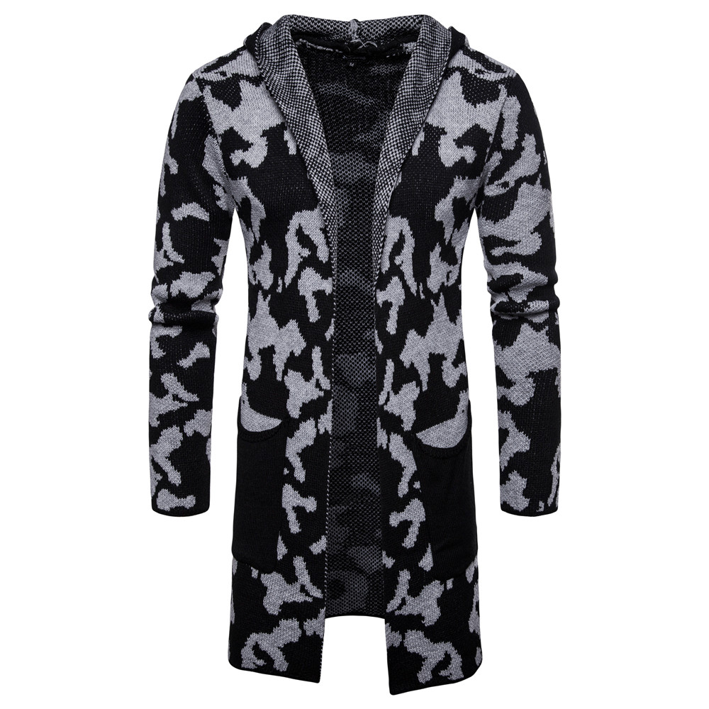 2018 Autumn And Winter Men's Sweater Men's Cardigan Camouflage Hooded Sweater