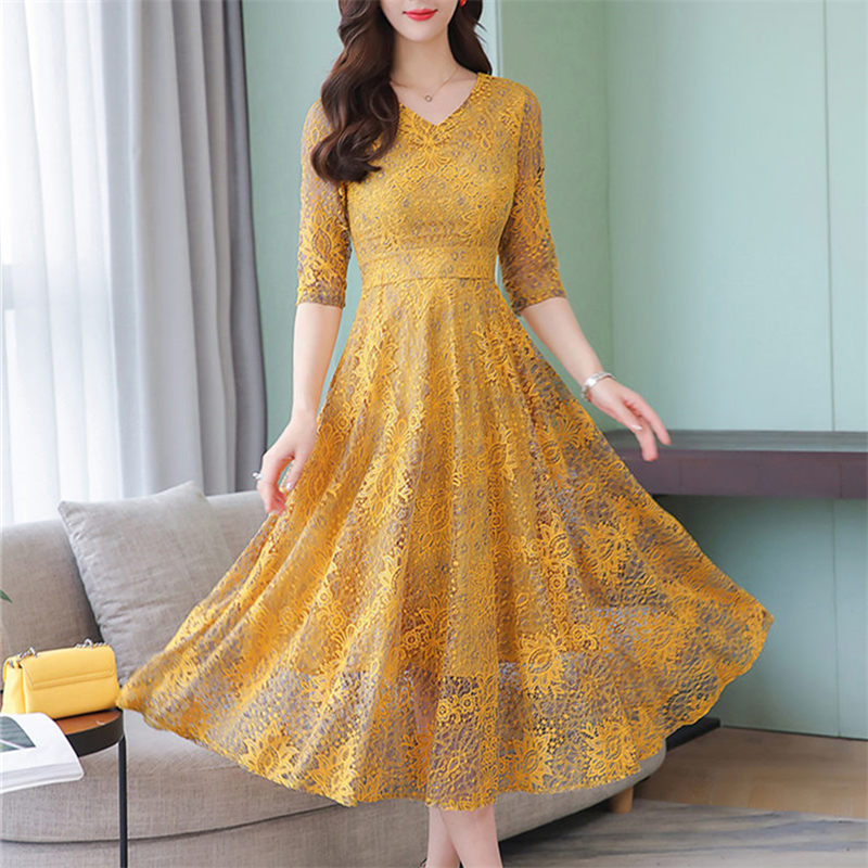 High Quality Elegant Yellow Dress Women 2019 Spring Summer Sexy Lace V Neck Three Quarter Sleeve Party Dresses Vestidos