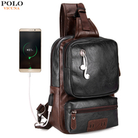 VICUNA POLO External USB Charge Men S Crossbody Chest Bag Large Capacity Casual Bag For Male