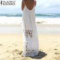 Mulheres rendas patchwork vestido sem mangas 2017 zanzea verão solto casual longo maxi dress sexy strapless branco beachwear plus size