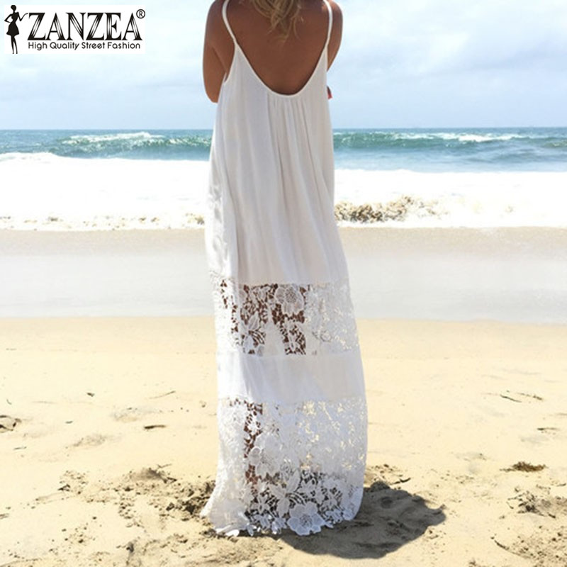 Жеңіл 2018 ZANZEA Жазғы Әйелдер кружевной плащы Vestido Casual Loose Long Maxi Dress Sexy Straples Beachwear Plus Size
