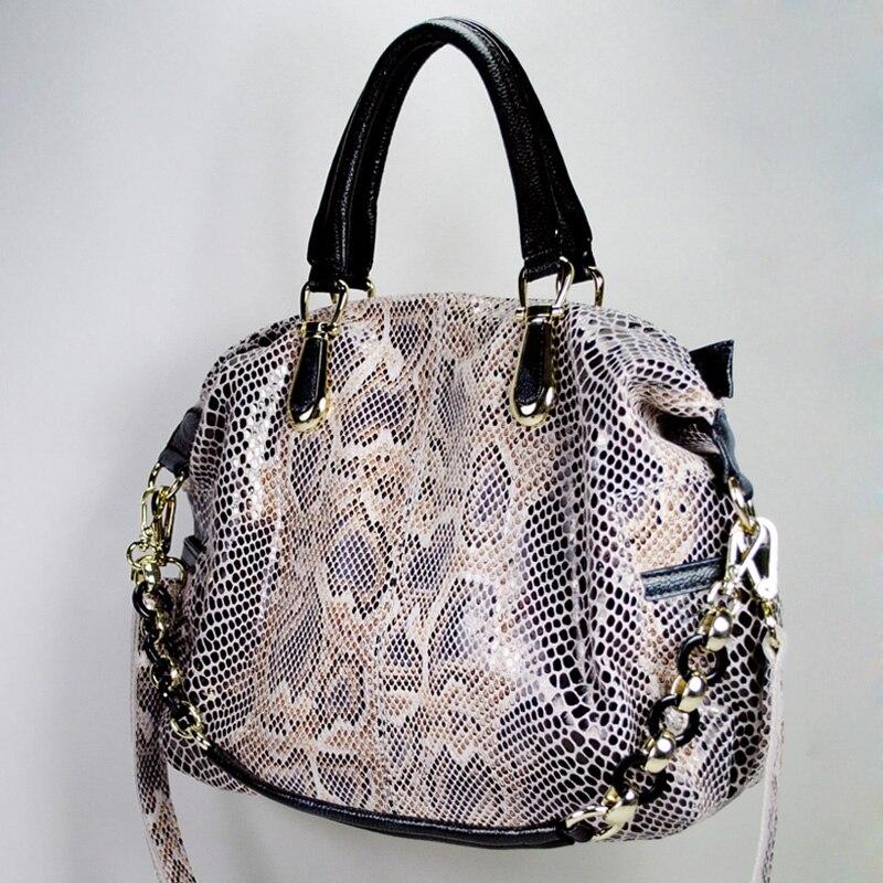 Marque femmes sac à main en cuir véritable sac fourre-tout femme classique serpentine imprime sacs à bandoulière dames sacs à main messenger sac