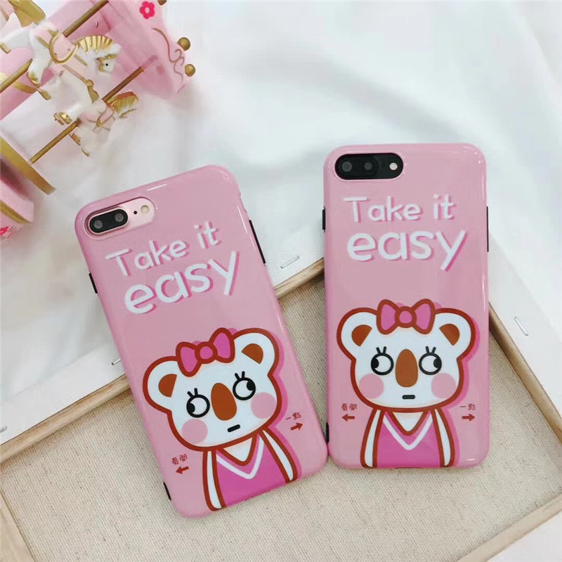 Cuptakes Luxury Glossy IMD Soft Silicone Case for iPhone 7 8 X 6 6S 7Plus 10 Cover Cute Bowtie Rabbit slogan Take it easy Fundas