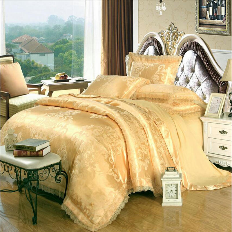 Gold/White/Blue Jacquard Silk Bedding Set Luxury 4pcs Satin Bed Set Duvet Cover King Queen Bedclothes Bed Linen Sets Cotton
