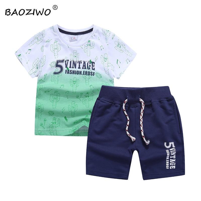 BAOZIWO boys clothing sets kids children clothing boys clothes cotton shirt  knitted pants style 73604