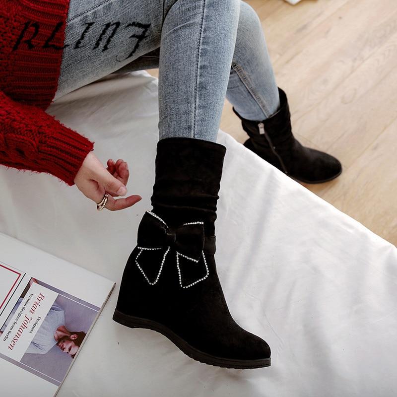 Rlinf Décontractée Chaussons rouge Arc Augmentation Mode Femmes Bottes Élégant Cales Cuir En Coréenne Tricoté noir Beige Des RxFRqwB