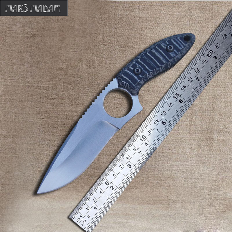 MARS MADAM Outdoor Fixed Blade Survival Knives DD9CR18MOV Blade Hunting Knife G10 Handle Hollowed-Out Straight Knife hx outdoor fixed blade straight knife rosewood handle 5cr15mov blade knife camping hand tool survival hunting knives