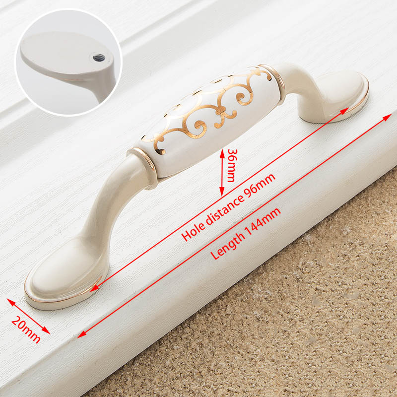 KAK цинк Aolly цвета слоновой кости ручки для шкафа кухонный шкаф дверные ручки для выдвижных ящиков Европейская мода оборудование для обработки мебели - Цвет: Handle-1015-96S