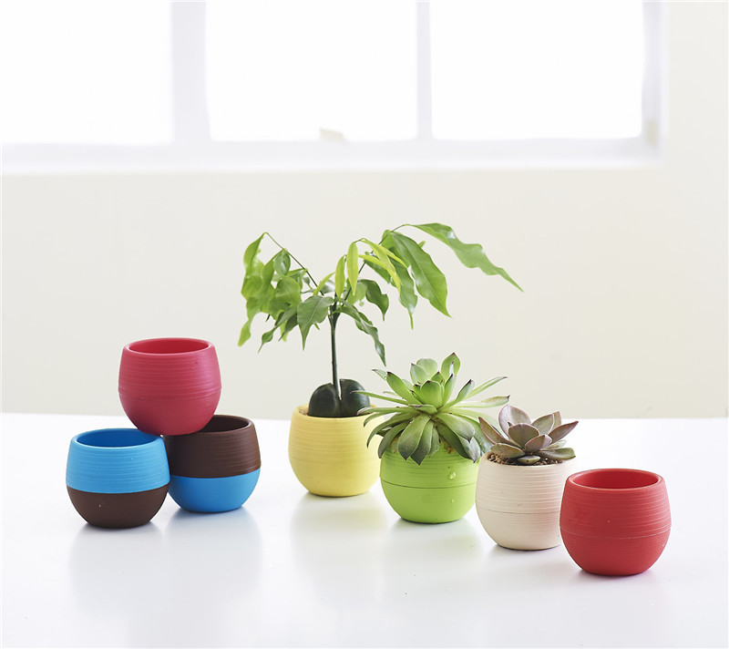 Gardening Mini Plastic Flower Pots Nursery Home Office Decor Plants Lazy Storage Pot Bonsai Planter 3 Sizes In Planters From