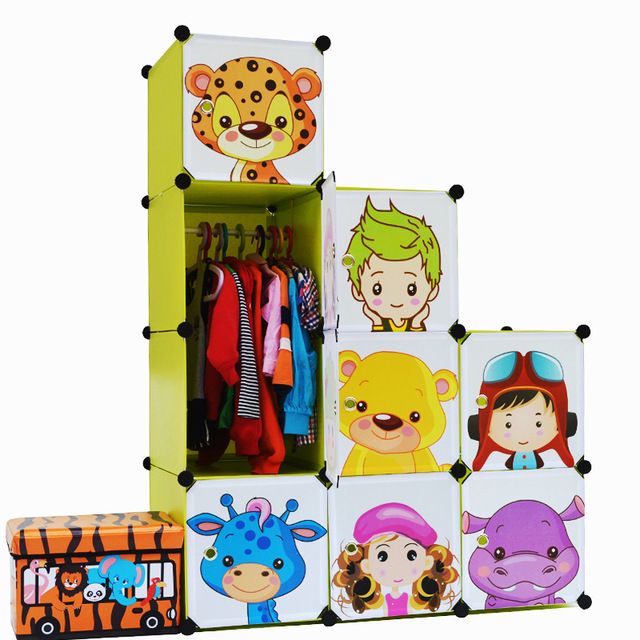 Armoire Armadio 12 Cubes Cartoon Children Diy Free Assembly Wardrobe Simple Closet Organiser Cheap Fitted Wardrobes Portable