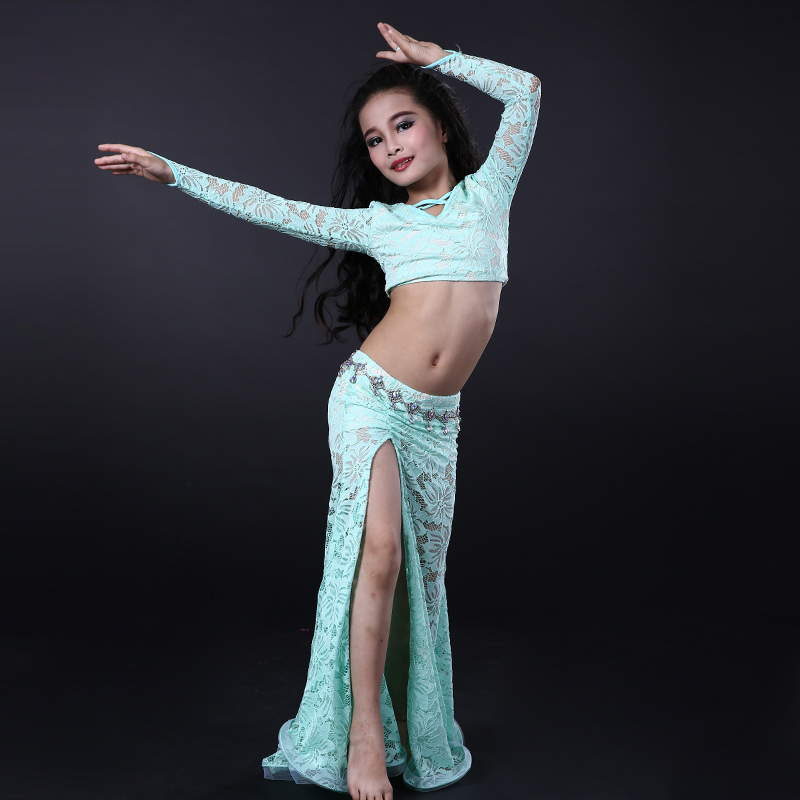 NEW! Lace Girls Belly Dance Costumes Senior Long Sleeves Top+long Skirt 2pcs Belly Dance Set For Girls Belly Dance Suits S M L