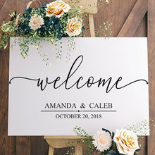 Personalised Bride And Groom Name,date Welcome Wedding Sign Decal Art Decoration Sticker Removable Mural Custom Wallpaper WE08