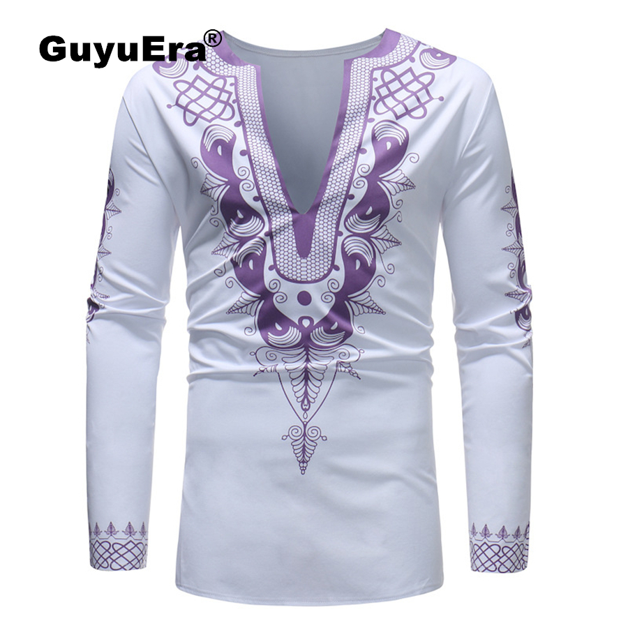 GuyuEra African dashiki style personality print fashion African style printing men's large V-neck long-sleeved T-shirt M-3XL