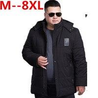 בתוספת גודל 5XL 4XL 6XL 8XL 10XL מותג גברים חורף מרופד פוליאסטר כותנה אופנה מעיל מעיל עבה Parka עם הוד משלוח חינם