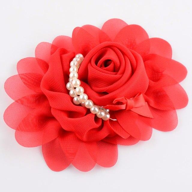 unids diy artesana grande rose de la gasa de flores con perlas flores de sita el cursor encima para hacer zoom