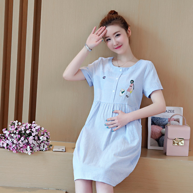 Cute Elegant Maternity Clothes Pregnancy Summer Short Sleeve Cotton Pregnant Dress Blue Clothes For Pregnant Women M-2XL C260