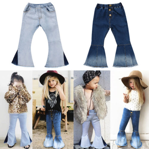 Pudcoco Arrivals Infant Newborn Toddler Kids Baby Bell-bottom Pants Denim Wide Leg Jeans Hit Color Trousers 2-7T