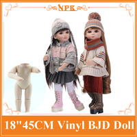 18inch 45cm BJD Full Silicone Vinyl Reborn Sweet American Girl Doll With And Interactive New Design