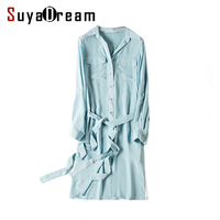 Women 100 Real Silk Dress Belted Luxury Natural Silk Chiffon Solid Dress 2017 Spring New Sky