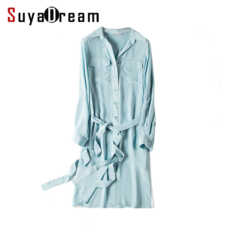 Femmes 100% réel Soie robe Ceinturée De Luxe Naturel en Mousseline de soie Solide robe 2017 D'été Nouvelle Ciel bleu Rose Vestides
