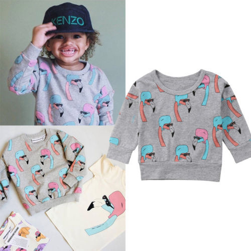 fefc6fbabd43 AU Kids Baby Boy Girl Flamingo Long Sleeve Sweater Pullover Clothes ...