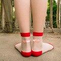 Япония Стекло Шелк Искусства Sokken Calcetines Mujer Summer Женщины Прозрачные Носки Harajuku Стретч Band Aid ОК Кристалл Носок