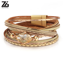 ZG 2019 Fashion Jewelry Bracelet Ladies in 3 Colors With Peace Charms Gold Color and Shinning Clear Crystal Stones