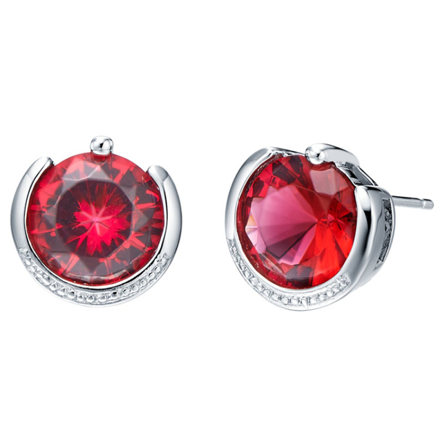 58ee68d55 Enormous Vogue Gem Red stone 925 Sterling Silver Wedding Jewelry Ear Stud  Earrings For Women Free Bag SCR161