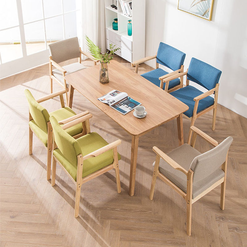 Image 5 - Solid Wood Dining Chair Armrest Nordic Home Furniture Modern Minimalist Back Casual Coffee Study Bedroom Dining Real Wood ChairDining Chairs   -