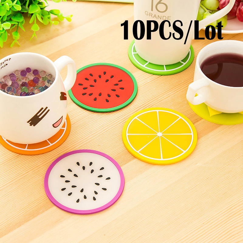 6pcs Fruit Coaster Colorful Cup Silicone Drinks Holder Mat Tableware Placemat