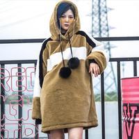 Brand loose long sleeve fashion Hoodies female fur autumn winter new long Sweatshirts outerwear tops women coats gx1671