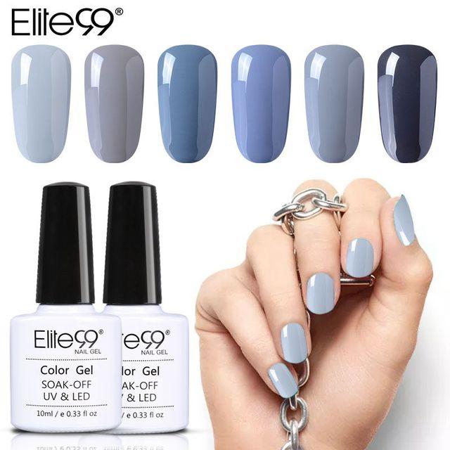 Elite99 10 ml Ganze Set UV Nagellack Grau Serie 12 Farbe Soak Off Gel Polnisch Benötigen UV Gel Basis und Top Müssen Mantel Lampe Zu Heilen