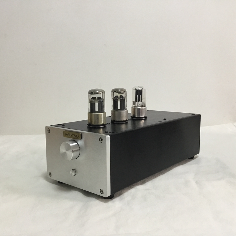 IWISTAO Tube Preamplifier HIFI Pure 6N8P Voltage Amplification 6Z5P Rectifier Whole Aluminum Casing Silver Panel Black Chassis iwistao amplifier chassis diy black aluminum panel casing no including vu meter iron enclosure for tube amp black audio hifi