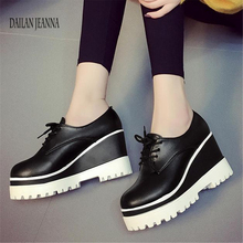 Spring 2018 new single shoe womens muffin shoes womens shoes high inside the thick soles