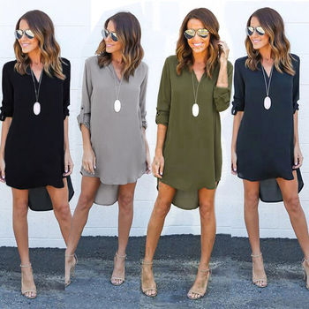 2019 Autumn Women Long Sleeve V Neck Ladies Casual Loose Tops Fashion Office Hot Sale Plus Size 2019 spring new women half sleeve loose flavour black dress long summer vestido korean fashion outfit o neck big sale costume