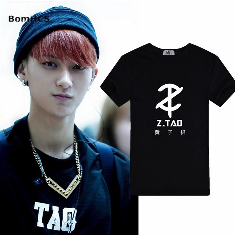 BomHCS Kpop EXO Z.TAO T Shirt Unisex Summer Cotton Short Sleeve Tee Shirt Tops Fans Support