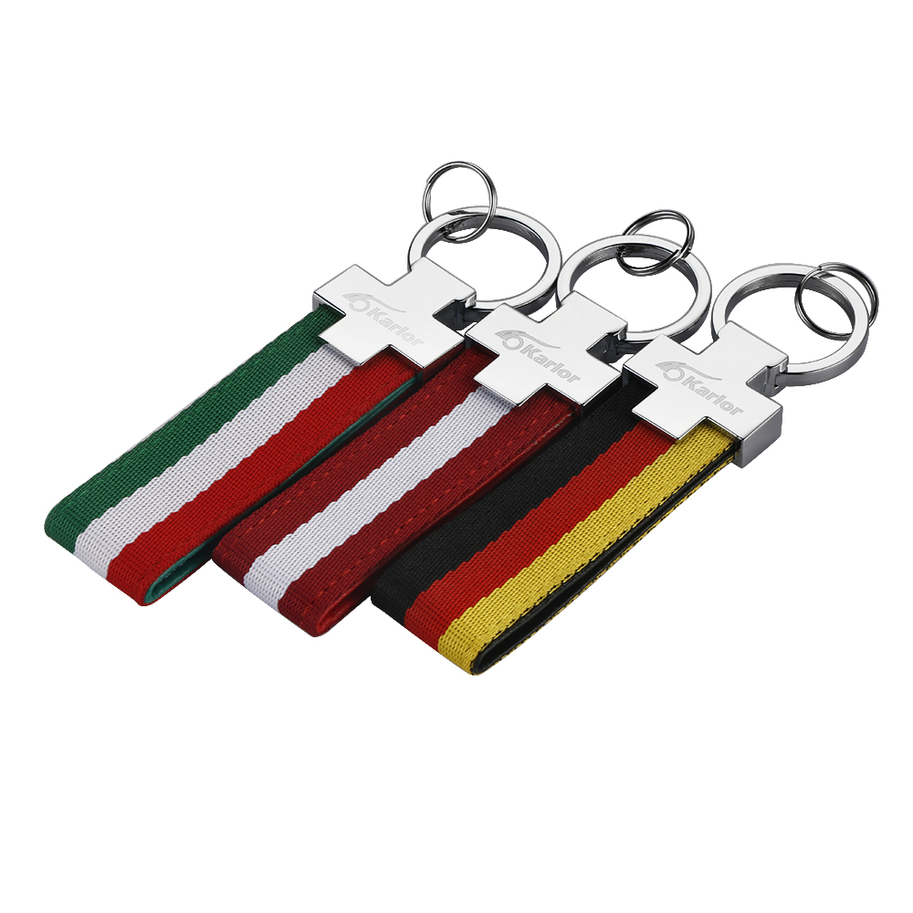 Auto Sport Metal+Cloth Italy Flag Germany Flag Car Key Ring Keychain For BMW Ford Volkswagen ...