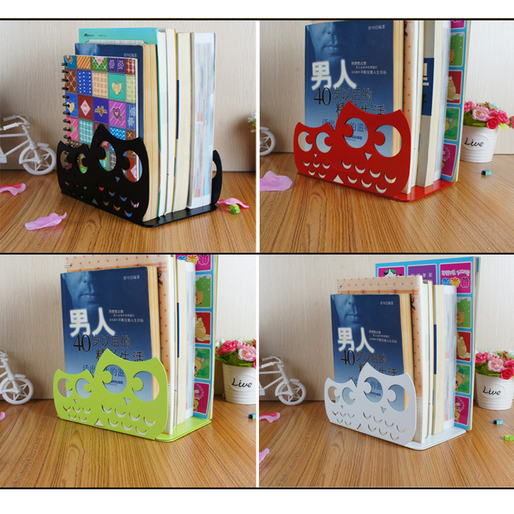 1 Pair/Lot Cute Funny Owl-Shaped Metal Bookend For School Stationery & Office Supply
