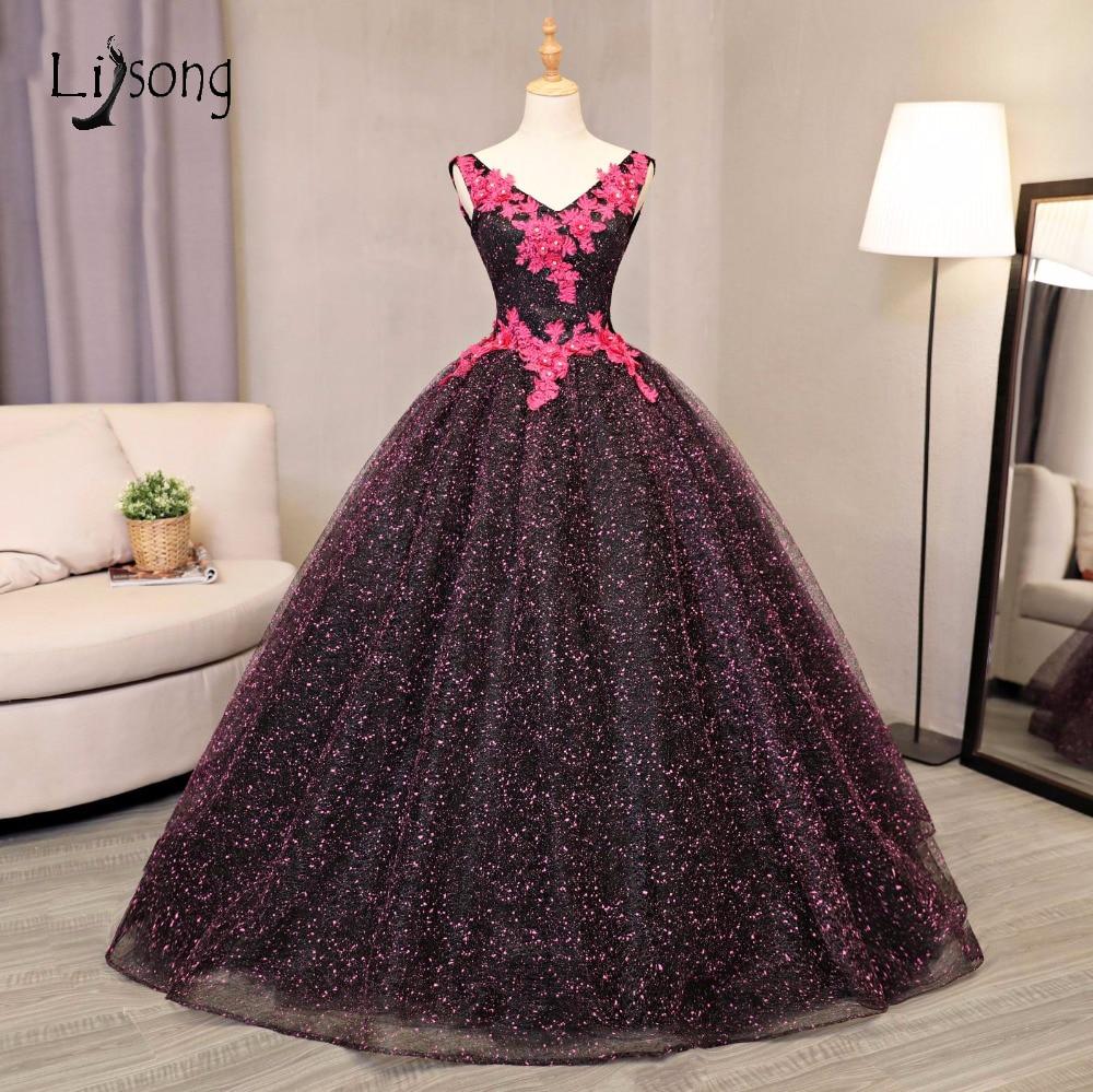 7e017dffe4 Robe De Mariee 2017 Gothic Chic Dot Pattern Wedding Dresses Black Tulle  With Fuchsia Appliques Bridal Ball Gowns Dubai A136
