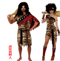 Halloween adult couples savage suit masquerade Christmas crazy primitive bar party supplies leopard savage costume Lovers 'suits