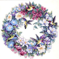 X X FISH Cross Stitch T019flowers Bird And Wreath Hummingbirds And Flowers Printing Accurate Pattern 11CT