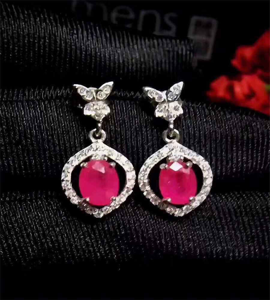 все цены на Fashion natural red ruby stud earrings Natural gem stone earrings Small 925 silver girl earrings gift jewelry онлайн