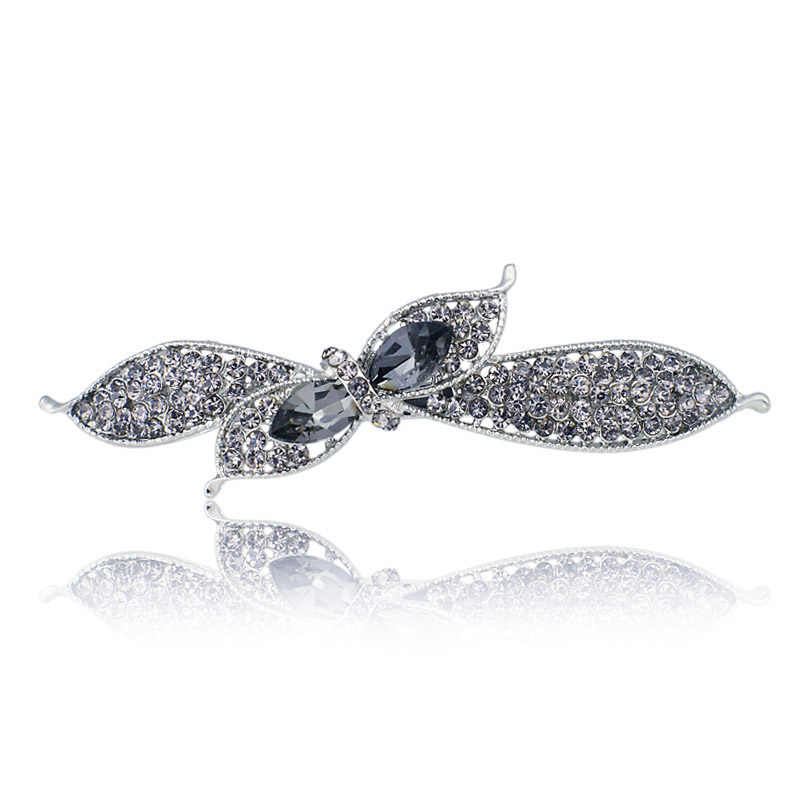 Kristal Unik Bunga Ikatan Simpul Hiasan Kepala Rambut Klip Barrette Jepit Rambut Aksesoris Perhiasan untuk Wanita Gadis Pernikahan F121