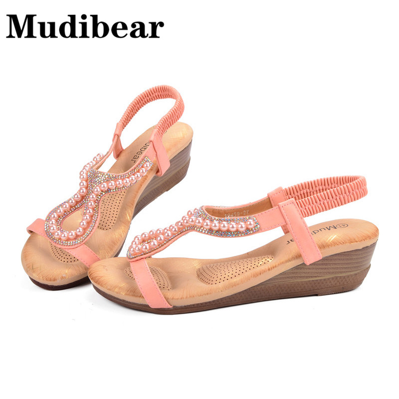 Mudibear Ladies Sandals Beach Wedge High Heels Beaded Pink Bling Soft Insole Women Shoes PU Casual Slip On Size Plus 36-42 fashion boutique beige rubber soft front insole for ladies fit any shoes