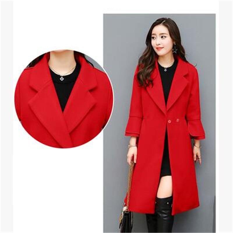 Automne black D'hiver Jeunes 2017 red De Édition Qualité Taille Femmes Han Laine Kg542 Cachemire Et Mode Manteau Vêtements Grande Army Haute Green R8rw1vxdqr